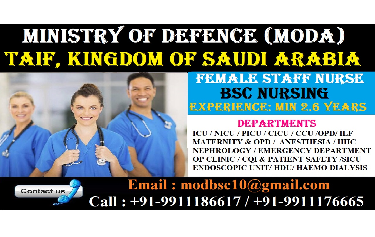 Urgently Required FEMALE STAFF Nurses for Ministry of Defence (MODA)- Taif Kingdom of Saudi Arabia