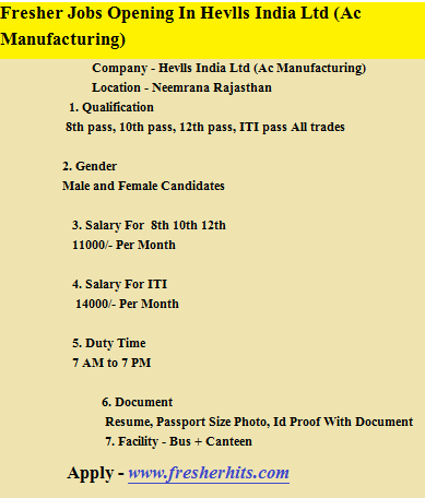 Fresher Jobs Opening In Hevlls India Ltd (Ac Manufacturing)