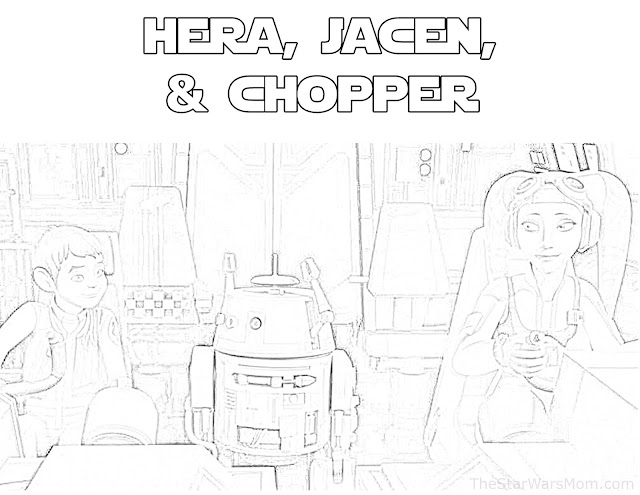 Hera and Jacen Syndulla with Chopper Free Coloring Page - Star Wars Rebels