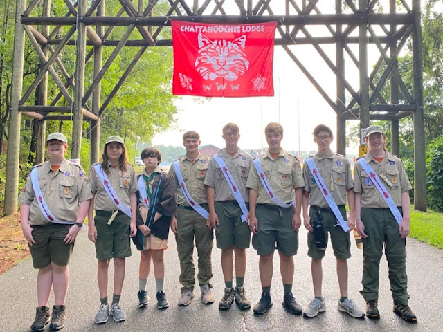 New Troop 50 Order of the Arrow inductees (left to right) Harrison, James, David, Harrison, Jake, Hunter, Connor and Rhett