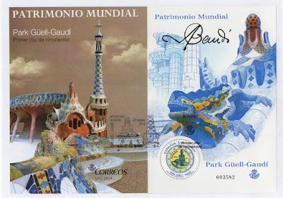 Sobre PDC con la hoja bloque de la moneda de dos euros dedicada al Parque Güell