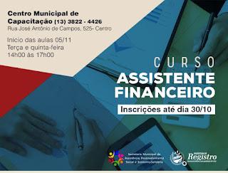 Prefeitura de Registro-SP oferece curso gratuito de Assistente Financeiro