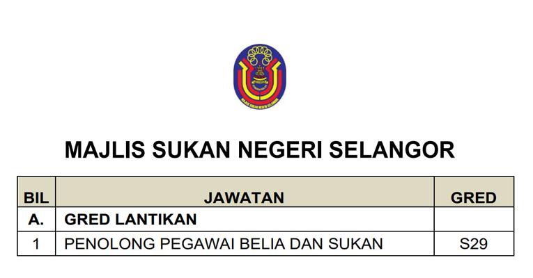 Jawatan Kosong Terkini di Majlis Sukan Negeri Selangor