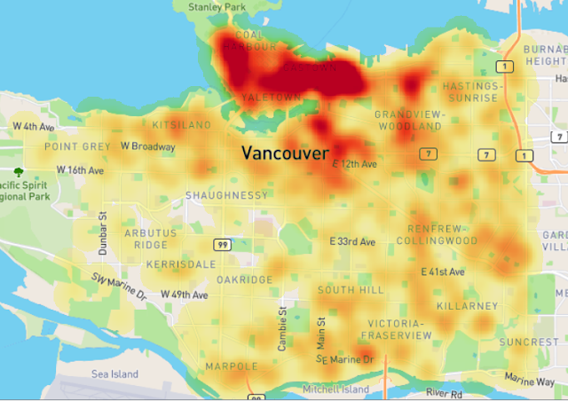 Theft from vehicle heatmap with singleband pseudo color