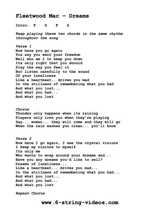 dreams fleetwood mac song lyrics