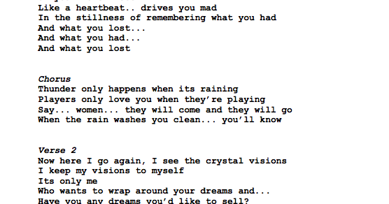 Guitar Tabs: Lyrics and Chords For: Dreams by Fleetwood Mac