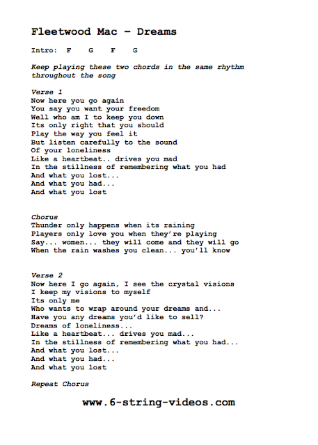 Lyrics and Chords For: Dreams by Fleetwood Mac