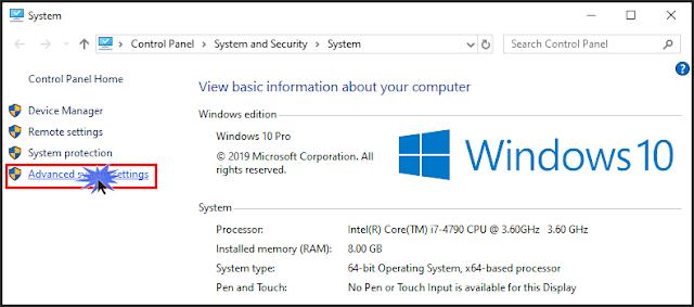 فى النافذة الجديدة على اليسار، قم بالضغط على إعدادات النظام المتقدمة Advanced system settings.