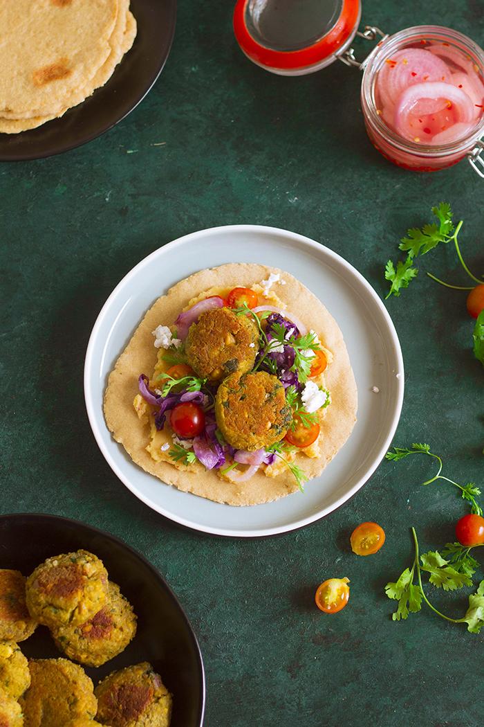 baked chickpea falafel wraps