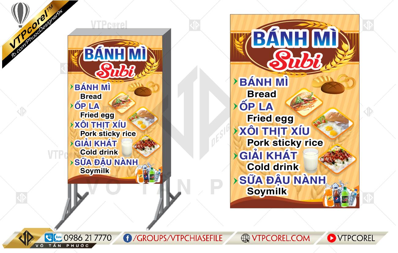 Bảng hiệu Bánh mì Subi nền vàng nổi bật CDR12