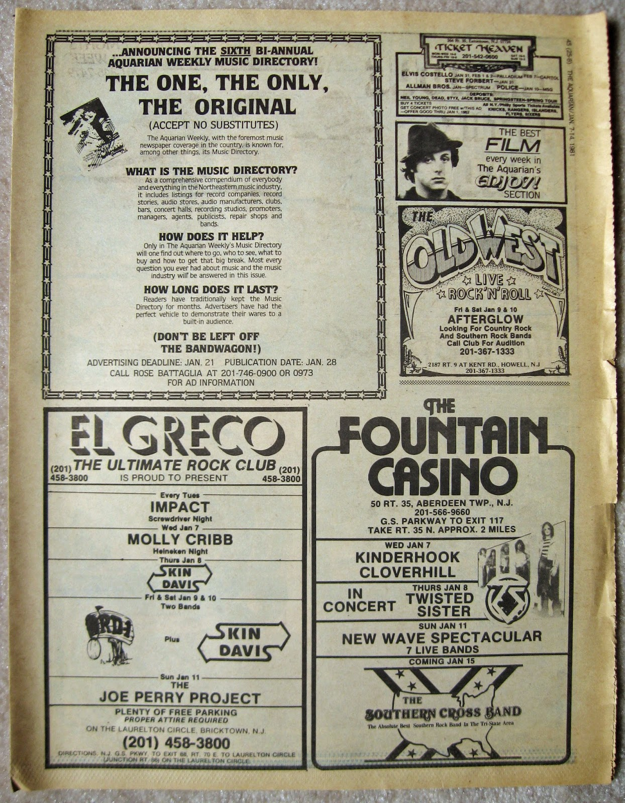 Fountain Casino - El Greco - The Old West band line ups 1981