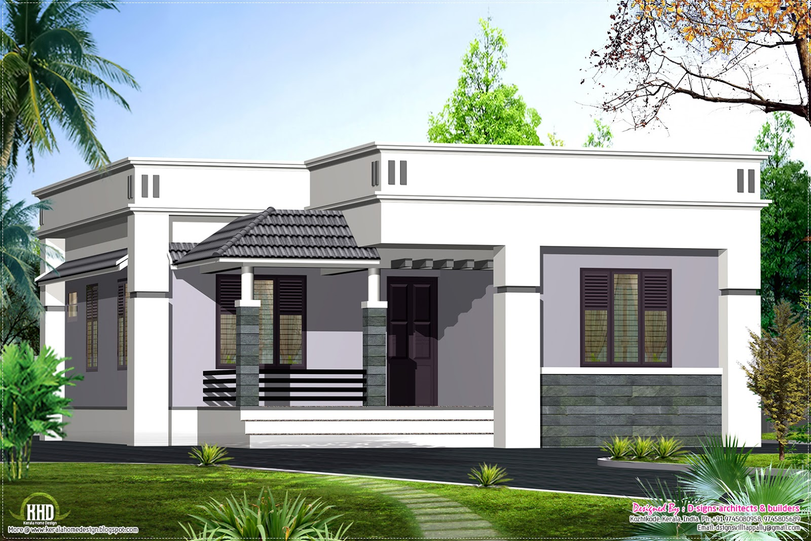 One floor house design 1100 home kerala plans for One level farmhouse plans