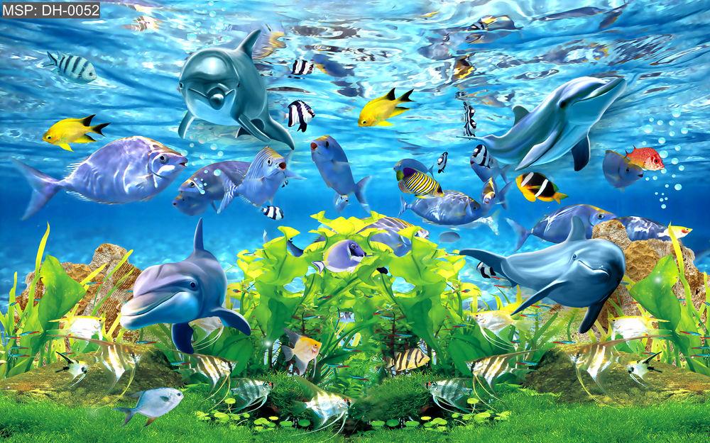 Tranh Dán Tường 3D Cá Heo