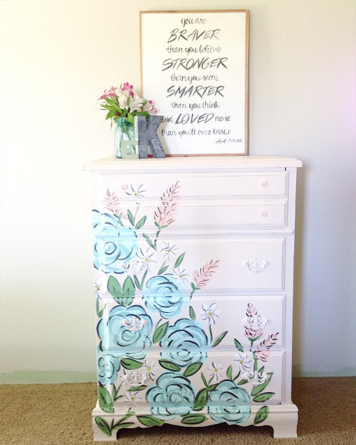 Dresser Makeover | Tones for Tots | Fusion Paint | Floral Dresser Makeover After