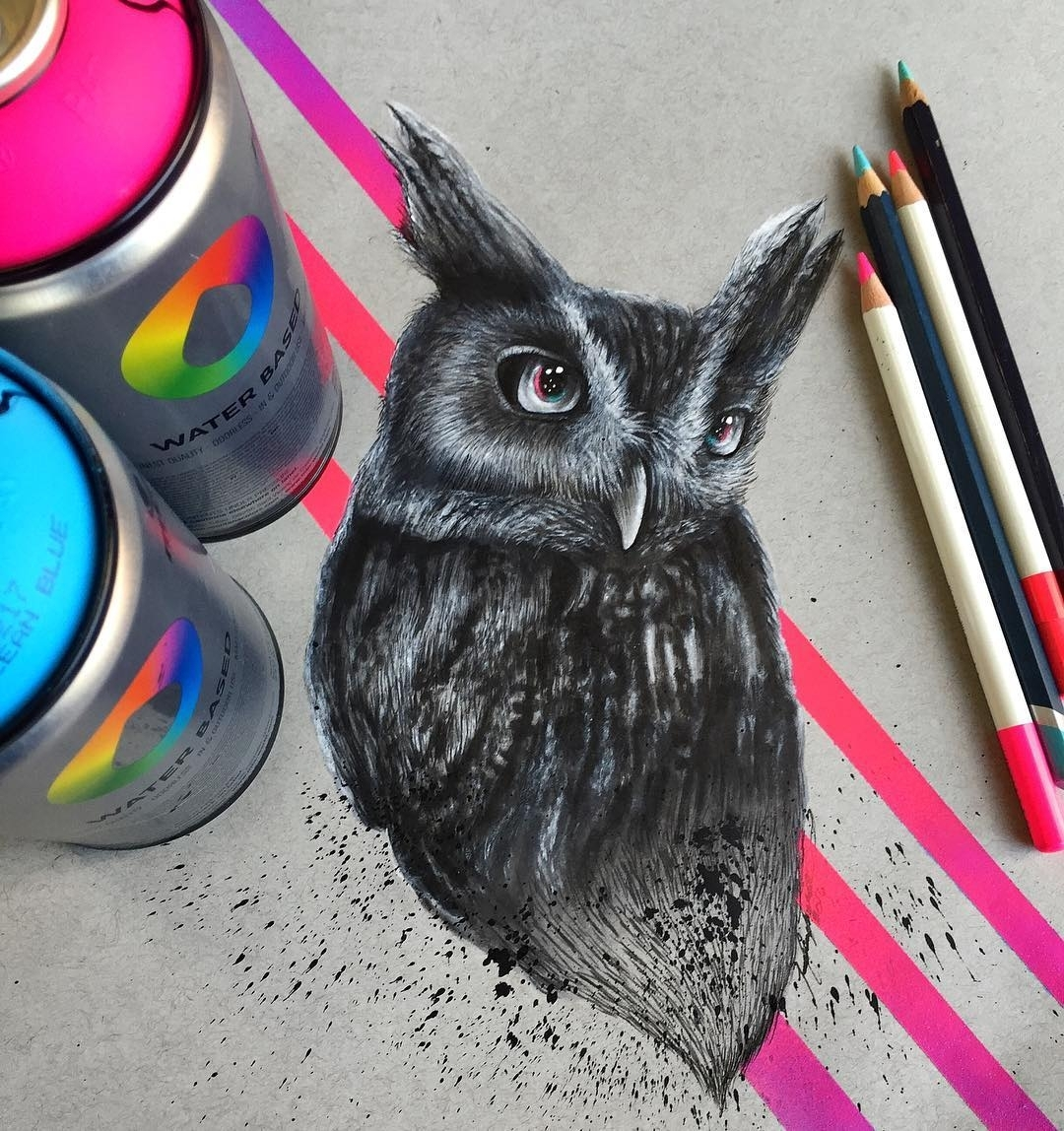 19-Owl-Spray-Pencils-Jonathan-Martinez-Art-of-the-Endangered-Paintings-and-Drawings-www-designstack-co