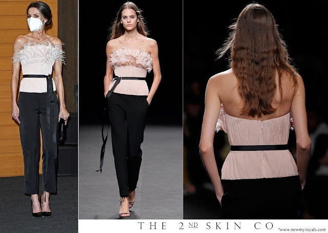Queen Letizia wore The 2nd Skin Co. Strapless Neckline Top and Straight Trousers