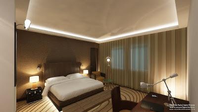 Perspective 3d chambre hôtel Saint-Tropez