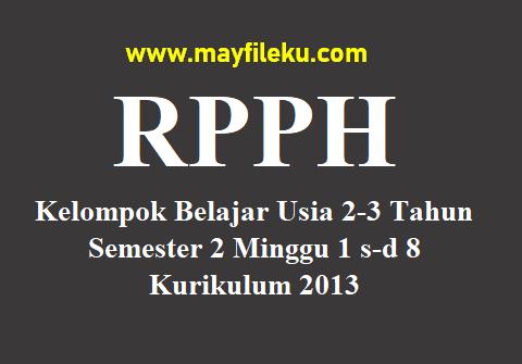 RPPH KB Usia 2-3 Tahun Semester 2 Minggu 1 s-d 8