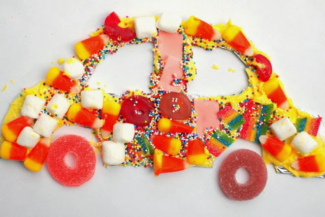 Create candy mosaic art with kids