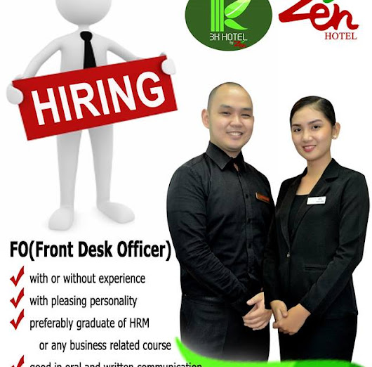 Santiago City: Isabela Zen Hotel and 3K Hotel by Zen is urgently in need of FRONT DESK OFFICER