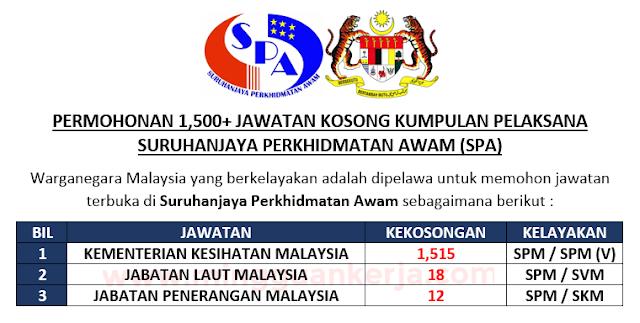 Terkini Permohonan Lebih 1 500 Jawatan Kosong Kumpulan Pelaksana Di Suruhanjaya Perkhidmatan Awam Malaysia Mingguan Kerja