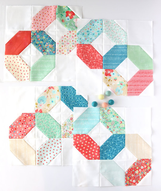 Ring Around the Rosie quilt blocks by Andy of A Bright Corner