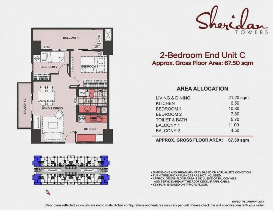 Sheridan Towers 2-Bedroom Unit-C 67.50 sqm