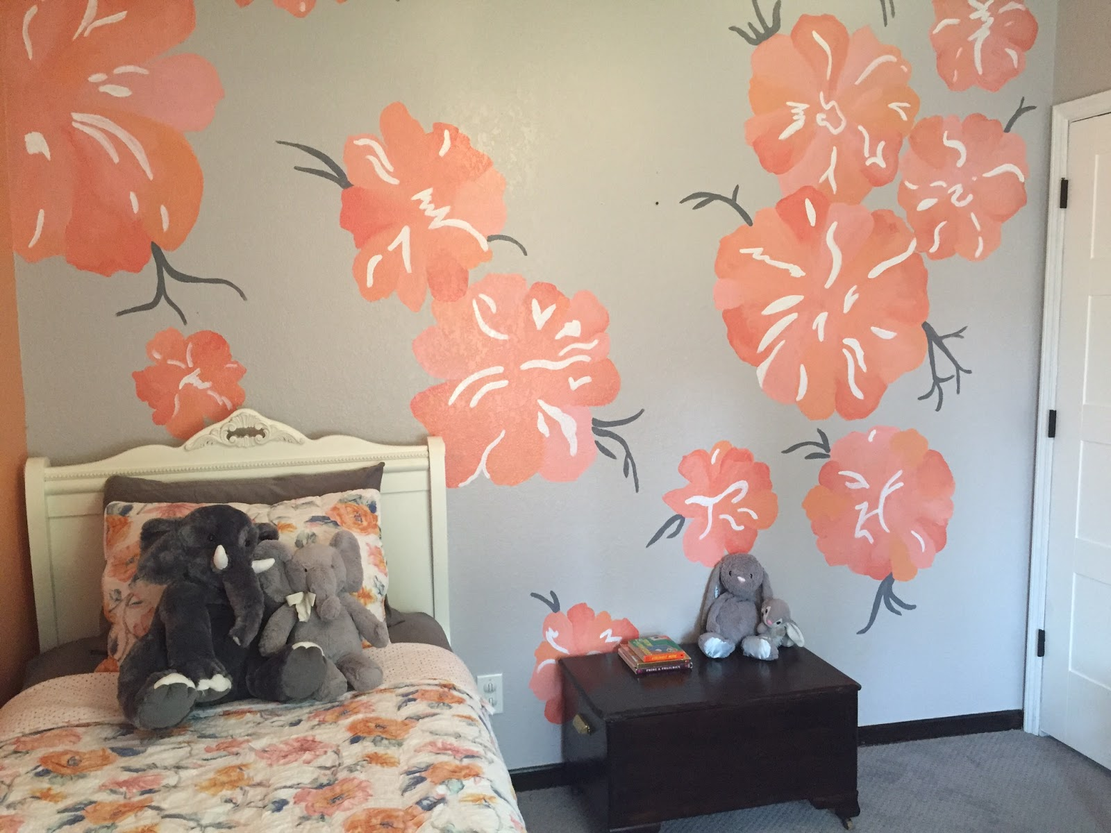 reimagined peony wall mural after having the beautiful birch tree mural painted in our son s nursery i wanted to add a mural to our daughter s room too her room felt a little bare