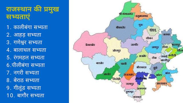 राजस्थान की प्रमुख सभ्यताएं