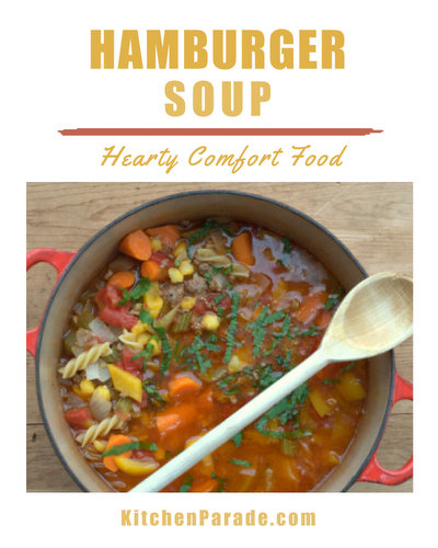 Hamburger Soup ♥ KitchenParade.com, a hearty meat and vegetable soup, easy comfort food.