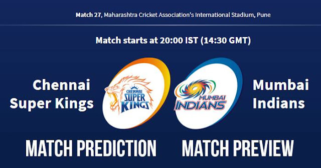 IPL 2018 Match 27 CSK vs MI Match Prediction, Preview and Head to Head: Who Will Win?