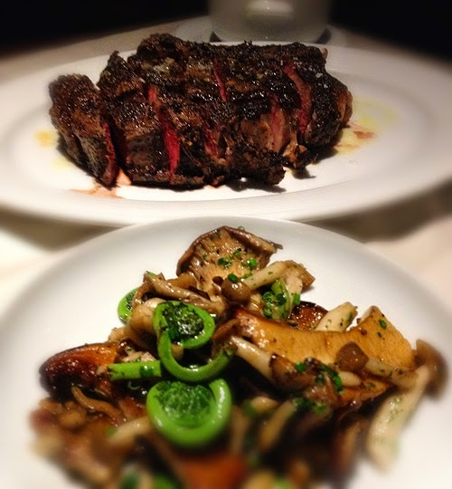 sliced steak, mushrooms and fiddelhead ferns