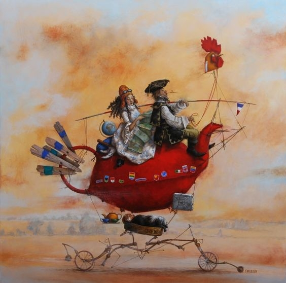 05-Le-Tour-Du Monde-De-Monsieur-Madame-En-Gallinac-Catherine-Chauloux-Paintings-of-Surreal-Worlds-and-Characters-www-designstack-co