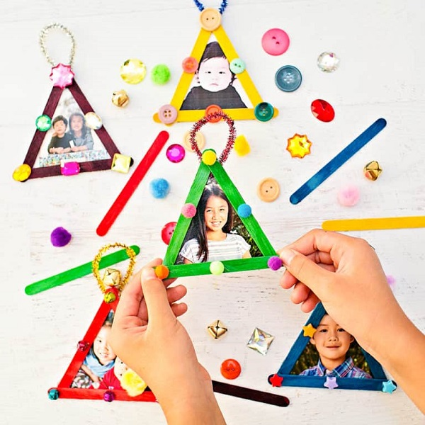 Craft Stick Christmas Tree Photo Ornaments
