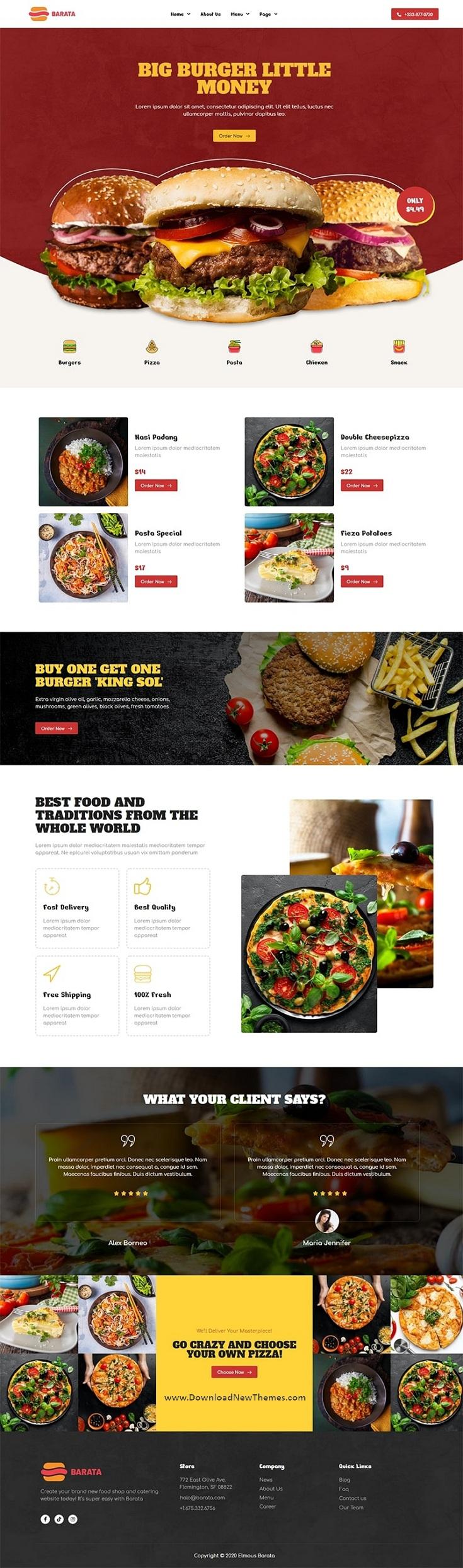 Fast Food & Burger Elementor Template Kit