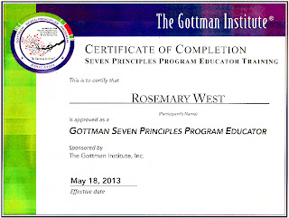 Certificate of Completion, Seven Principles Program Educator Training