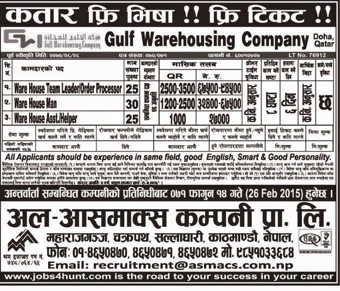 WAREHOUSE VACANCY IN QATAR SALARY RS 27000-94500