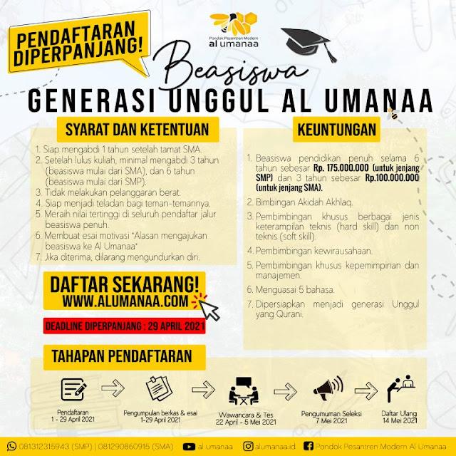Beasiswa Pondok Pesantren Al UMANAA Untuk Generasi Unggul