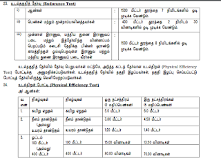 TN Police Constable fireman Jail Warder Jobs Physical Endurance tests, Efficiency Tests