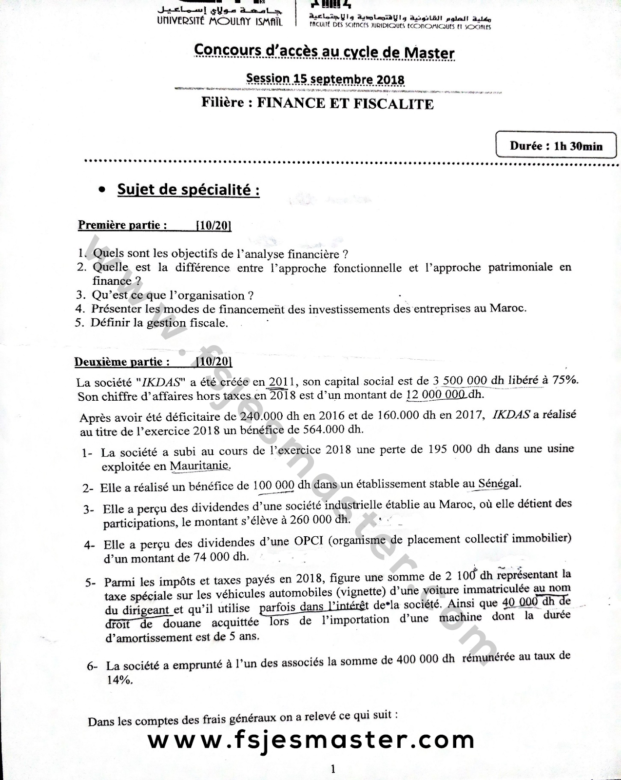 Exemple Concours d'accès au Cycle Master Finance et Fiscalité 2018-2019 - Fsjes Meknès