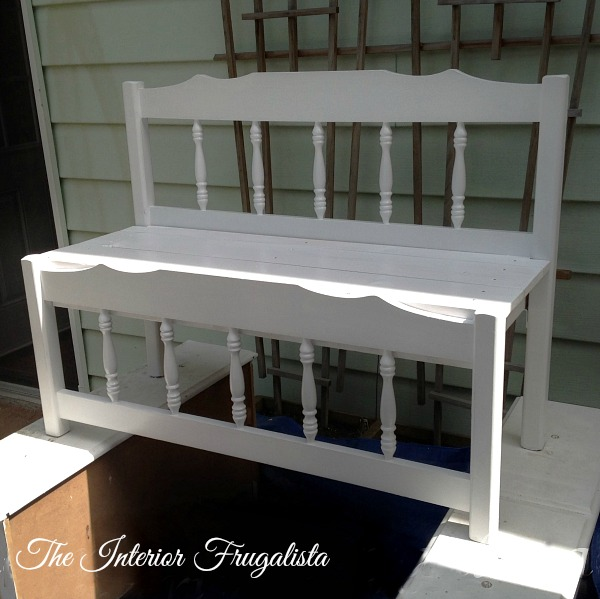 Painted Twin Captain's Bed Turned Into Bench