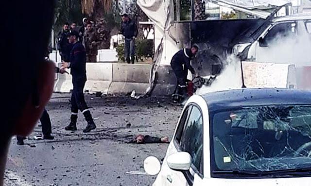 تفجير ارهابي امام السفارة الأمريكية : استشهاد ملازم أوّل