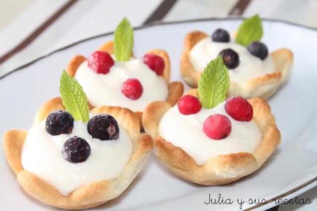 Tartaletas de crema de leche condensada. Julia y sus recetas