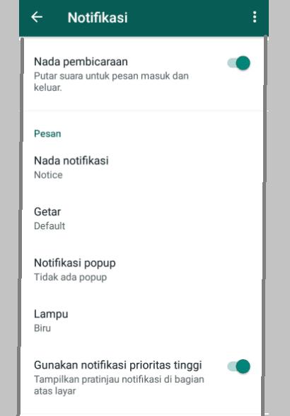 Setelan Aplikasi WhatsApp Bagian Notifikasi