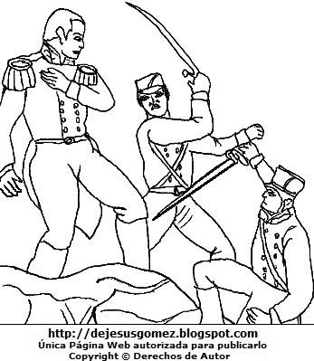 Imagen de la Batalla de Junín para colorear pintar  e imprimir. Dibujo de la Batalla de Junín de Jesus Gómez