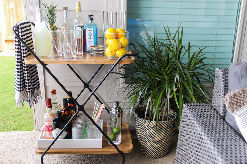patio bar cart styling sponsored by