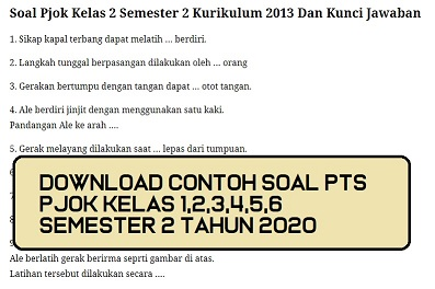 Download Contoh Soal Pts Pjok Kelas 5 Semester 2 Beserta Kunci Jawaban Tahun 2020 Beritapppk Com