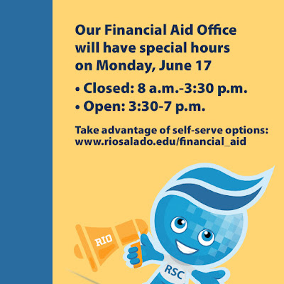 Rio Mascot splash with bullhorn.  Text: Our Financial Aid Office will have special hours on Monday, June 17: • Closed: 8 a.m.-3:30 p.m. • Open: 3:30-7 p.m.