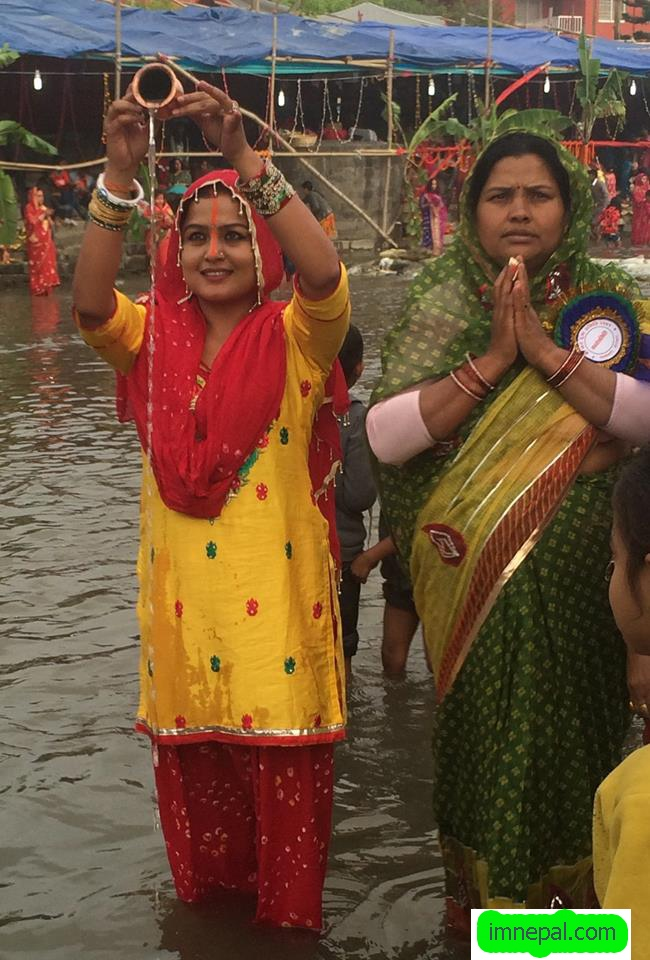 Pictures of Nepali Actress Rekha Thapa During Chhath Puja Celebration