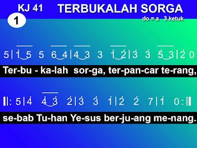 Lirik dan Not Kidung Jemaat 41 Terbukalah Sorga